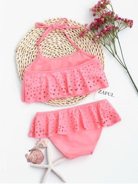 outfits Overlay Laser Cut Ruffles Kid Bikini - SHALLOW PINK 5T Mobile