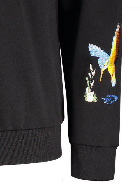 Crisscross Bird Print Pullover Hoodie - Noir L Mobile