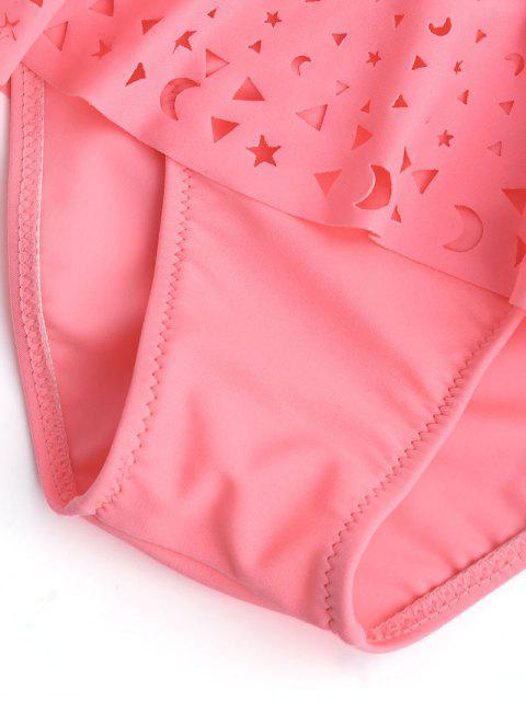 chic Overlay Laser Cut Ruffles Kid Bikini - SHALLOW PINK 8T Mobile