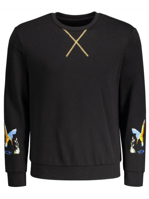 fancy Crisscross Bird Print Pullover Hoodie - BLACK M Mobile