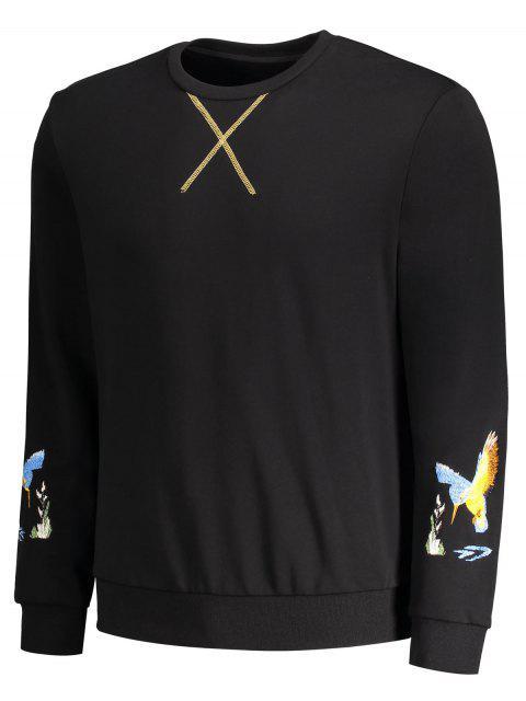 Crisscross Bird Print Pullover Hoodie - Noir M Mobile