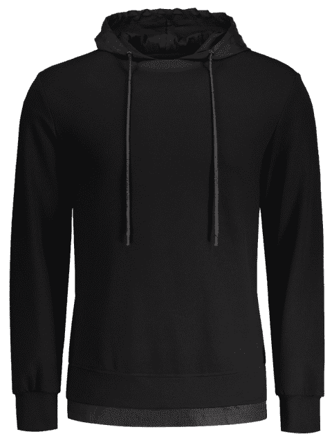 ladies Letter Print Back Pullover Hoodie - BLACK L Mobile