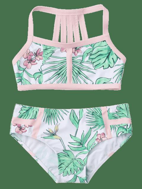 outfits Strappy Leaf Print Kids Bikini Set - WHITE AND GREEN 7T Mobile