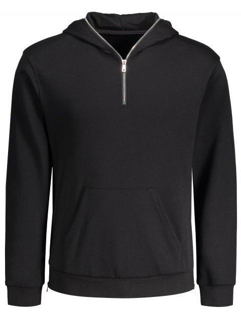 fancy Sports Half Zip Hoodie - BLACK XL Mobile