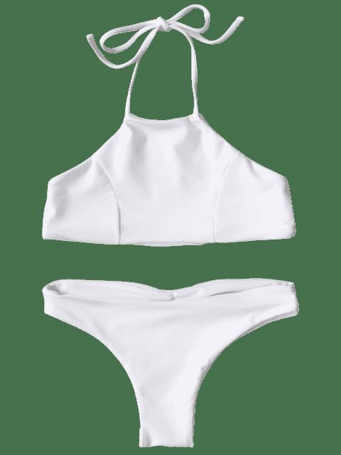 affordable Halter Cute Kid Bikini - WHITE 7T Mobile