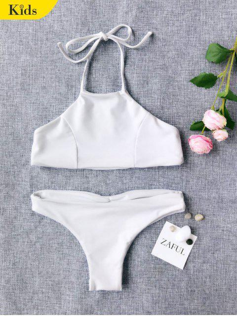Bikini à Col Halter Mignon Pour Enfant - Blanc 8T Mobile