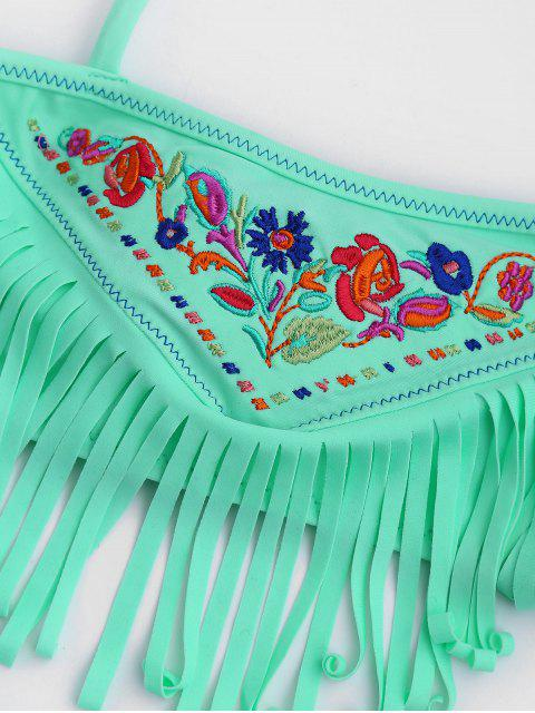 hot Tie Side Embroidered Fringes Kid Bikini - LIGHT GREEN 5T Mobile