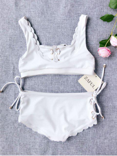 shop Scalloped Lace Up Bikini - WHITE 4T Mobile