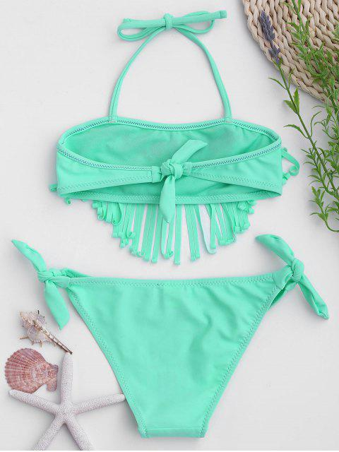 trendy Tie Side Embroidered Fringes Kid Bikini - LIGHT GREEN 8T Mobile