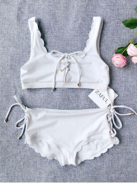 fancy Scalloped Lace Up Bikini - WHITE 7T Mobile