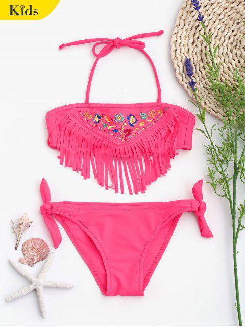 unique Tie Side Embroidered Fringes Kid Bikini - TUTTI FRUTTI 6T Mobile
