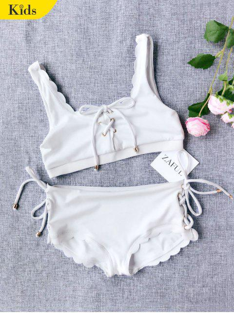 sale Scalloped Lace Up Bikini - WHITE 8T Mobile