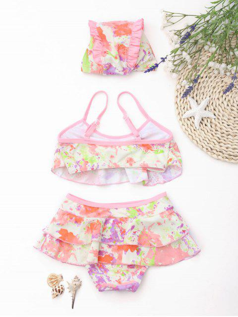outfit Kid Bowknot Tie Dye Tiered Bikini - COLORMIX 4T Mobile