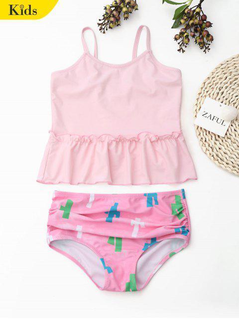 outfits Printed Ruffle Kids Tankini Set - LIGHT PINK 8T Mobile