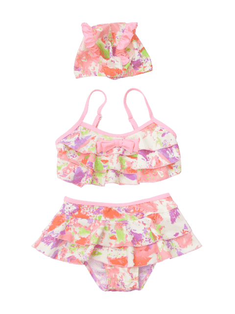shop Kid Bowknot Tie Dye Tiered Bikini - COLORMIX 5T Mobile