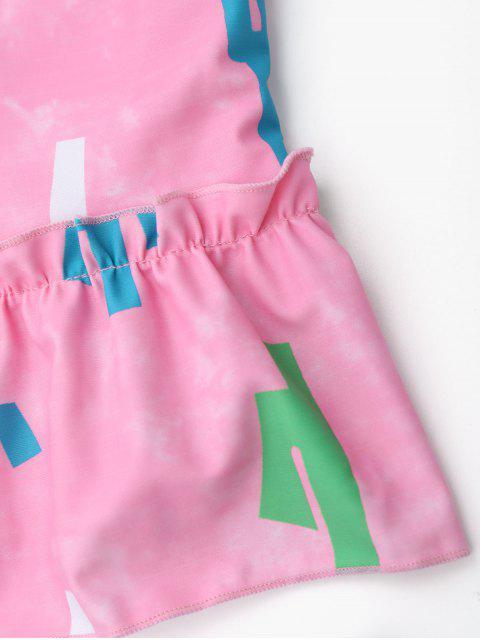 trendy Printed High Waisted Kids Tankini Set - PINK 5T Mobile