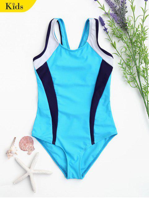 fashion Cut Out Color Block Kid Swimwear - LAKE BLUE 5T Mobile