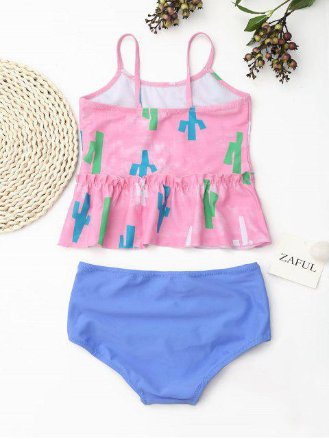 chic Printed High Waisted Kids Tankini Set - PINK 6T Mobile