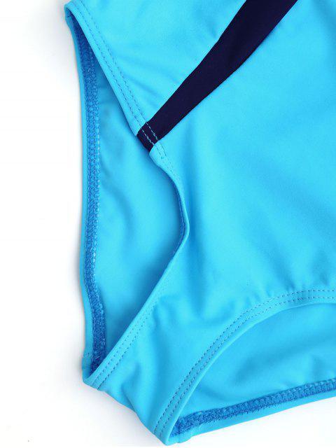fancy Cut Out Color Block Kid Swimwear - LAKE BLUE 6T Mobile
