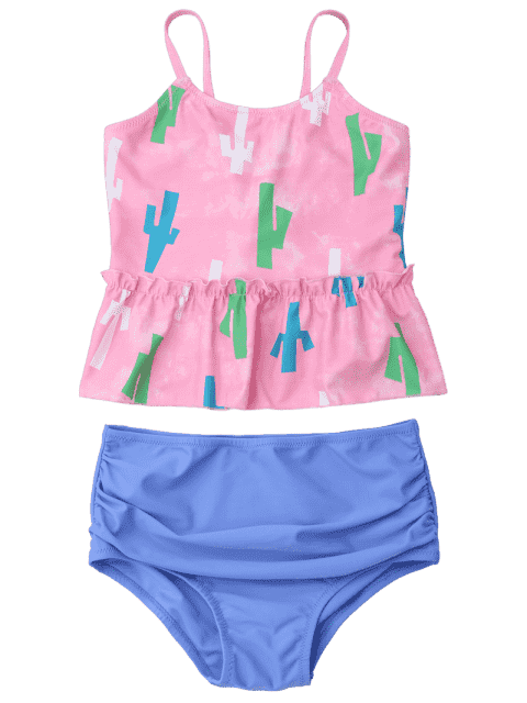 affordable Printed High Waisted Kids Tankini Set - PINK 8T Mobile