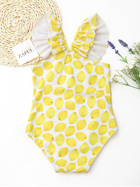 ladies Lemon Print Ruffle Kids One Piece Swimsuit - WHITE AND YELLOW 4T Mobile