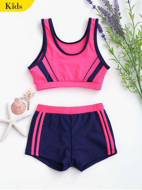 online Color Block Scoop Kid Bikini - BLUE AND PINK 7T Mobile