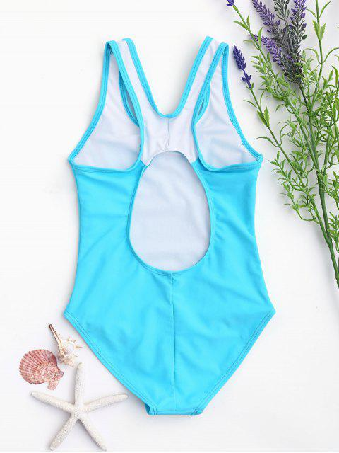trendy Cut Out Color Block Textured Kid Swimwear - LAKE BLUE 7T Mobile