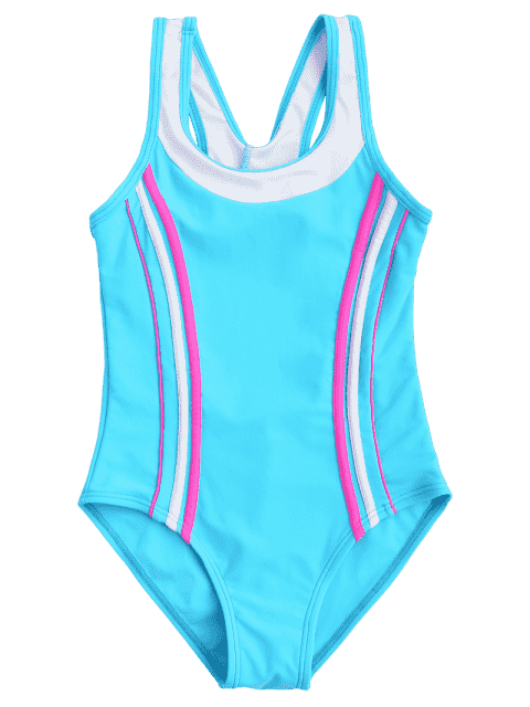 fashion Cut Out Color Block Textured Kid Swimwear - LAKE BLUE 8T Mobile