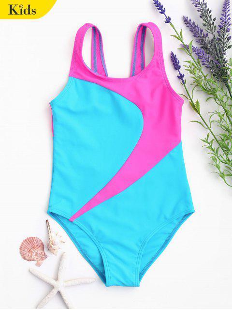 chic Cut Out Two Tone Kid Swimwear - LAKE BLUE 5T Mobile