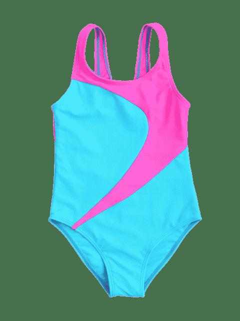 fancy Cut Out Two Tone Kid Swimwear - LAKE BLUE 6T Mobile