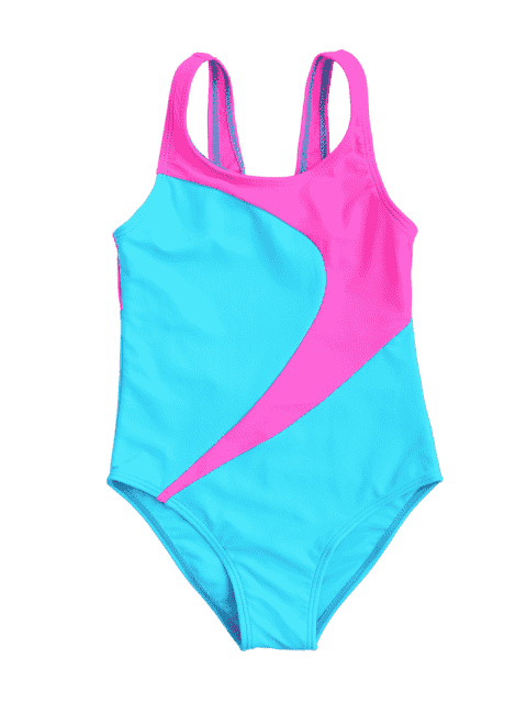 unique Cut Out Two Tone Kid Swimwear - LAKE BLUE 7T Mobile