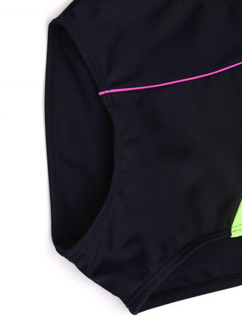 women's Back Low Cut Color Block Kid Swimwear - BLACK 5T Mobile