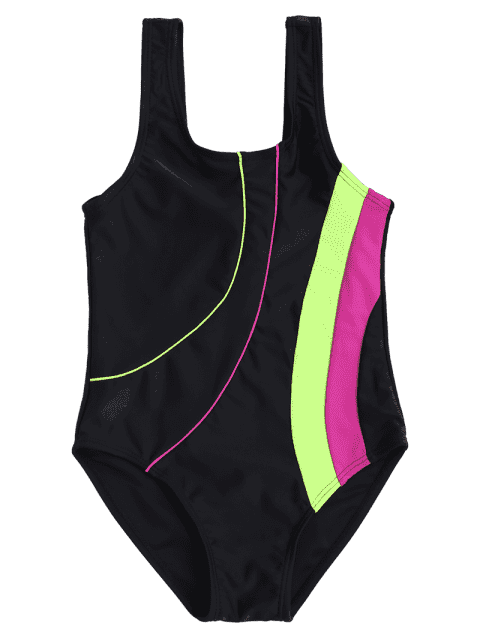lady Back Low Cut Color Block Kid Swimwear - BLACK 7T Mobile