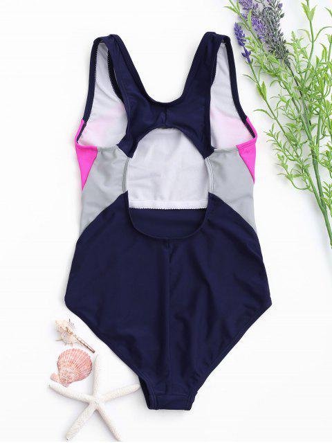 online Back Cut Out Tricolor Kid Swimwear - PURPLISH BLUE 5T Mobile