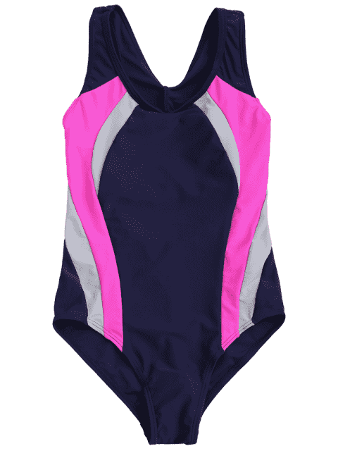 new Back Cut Out Tricolor Kid Swimwear - PURPLISH BLUE 6T Mobile