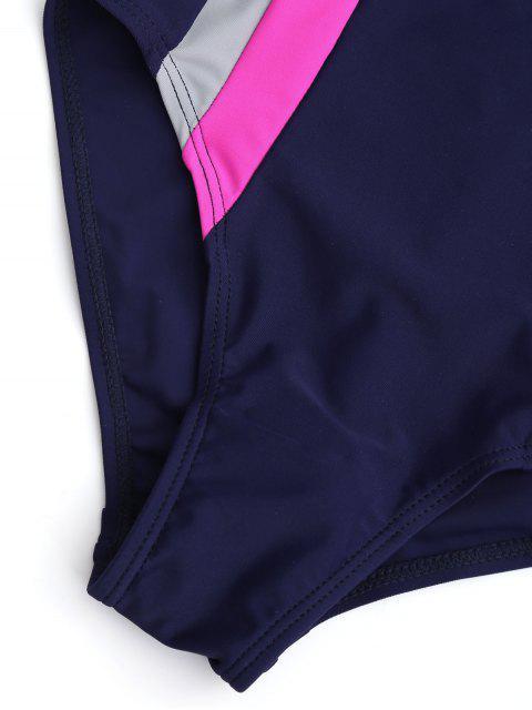 outfit Back Cut Out Tricolor Kid Swimwear - PURPLISH BLUE 8T Mobile