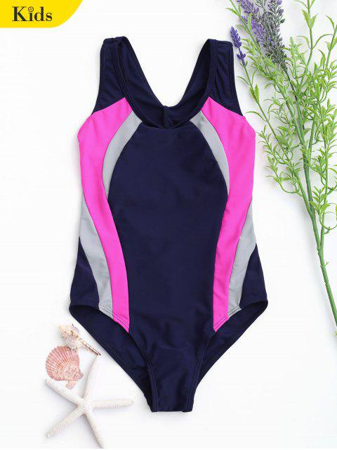 outfit Back Cut Out Tricolor Kid Swimwear - PURPLISH BLUE 8T Mobile