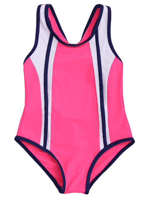 latest Back Cut Out Tricolor Scoop Kid Swimwear - TUTTI FRUTTI 8T Mobile