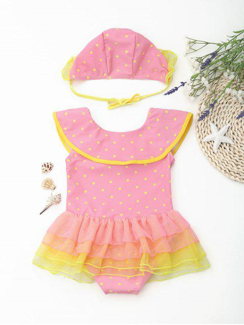 trendy Polka Dot Ruffles Layered Kid Skirted Swimwear - PINK 3T Mobile