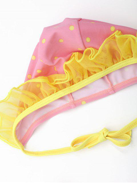chic Polka Dot Ruffles Layered Kid Skirted Swimwear - PINK 5T Mobile