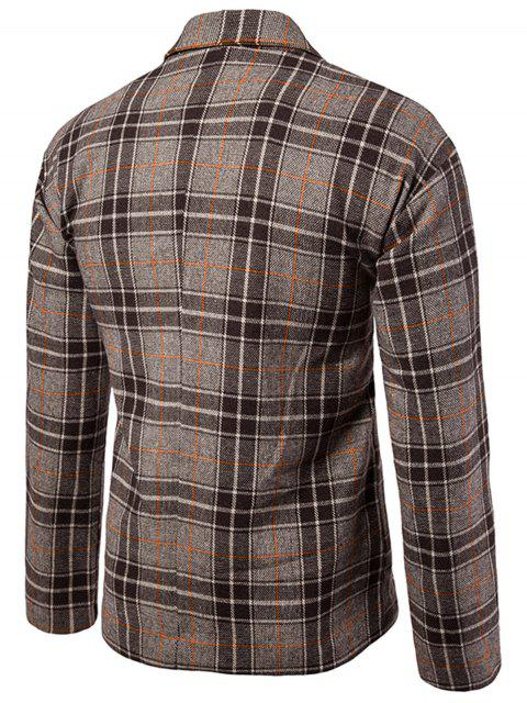 sale One Button Wool Blend Plaid Blazer - COFFEE L Mobile
