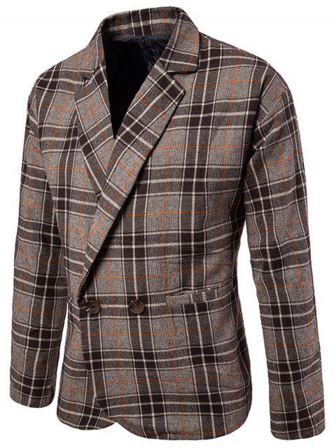 buy One Button Wool Blend Plaid Blazer - COFFEE 2XL Mobile