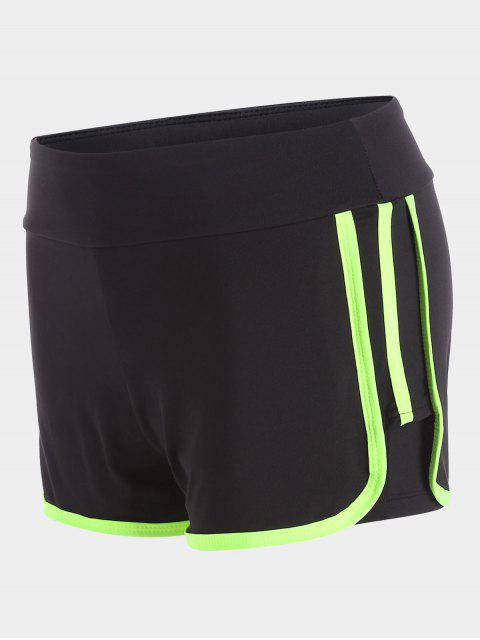 Stripe Trim Sports Shorts - Fluorescente Verte M Mobile