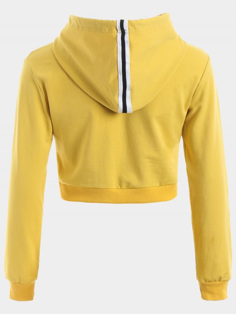 online Cropped Drawstring Sports Hoodie - YELLOW L Mobile