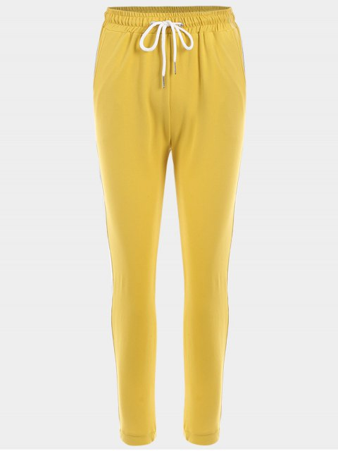 women Striped Drawstring Sports Pants - YELLOW L Mobile