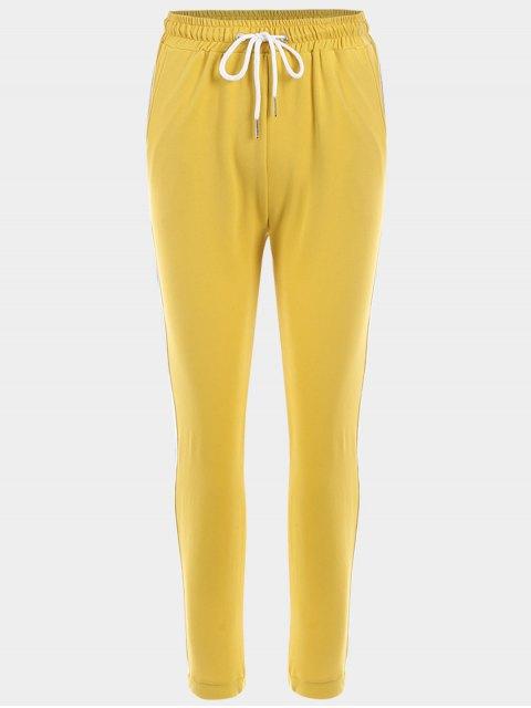 ladies Striped Drawstring Sports Pants - YELLOW S Mobile