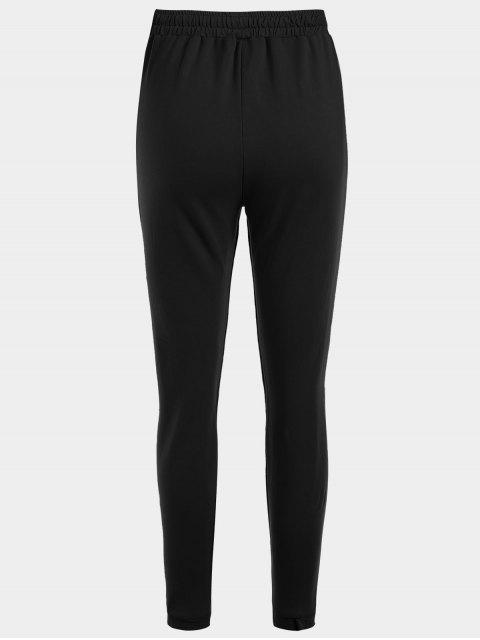 lady Striped Drawstring Sports Pants - BLACK L Mobile