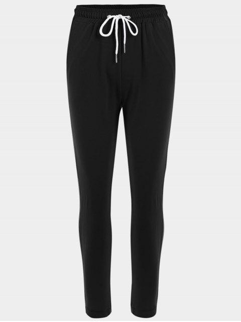 lady Striped Drawstring Sports Pants - BLACK L Mobile
