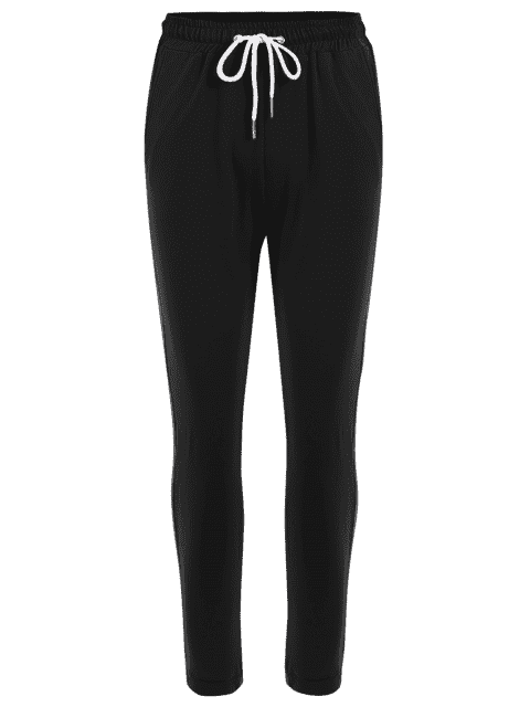 online Striped Drawstring Sports Pants - BLACK S Mobile