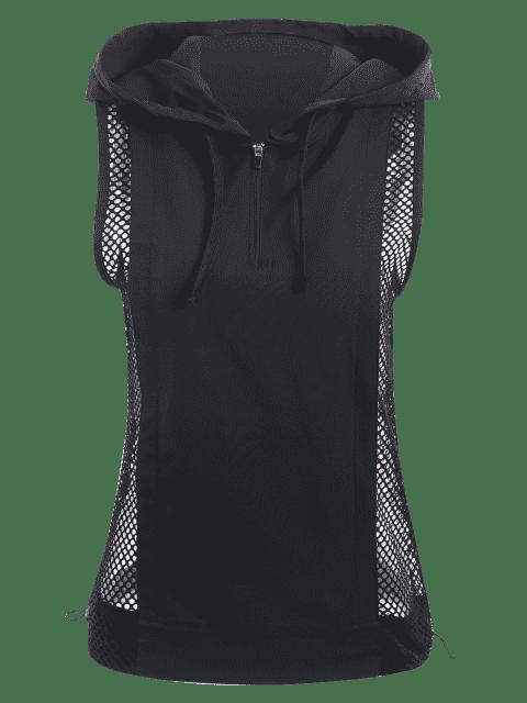 new Half-zip Mesh Panel Hooded Sports Top - BLACK L Mobile